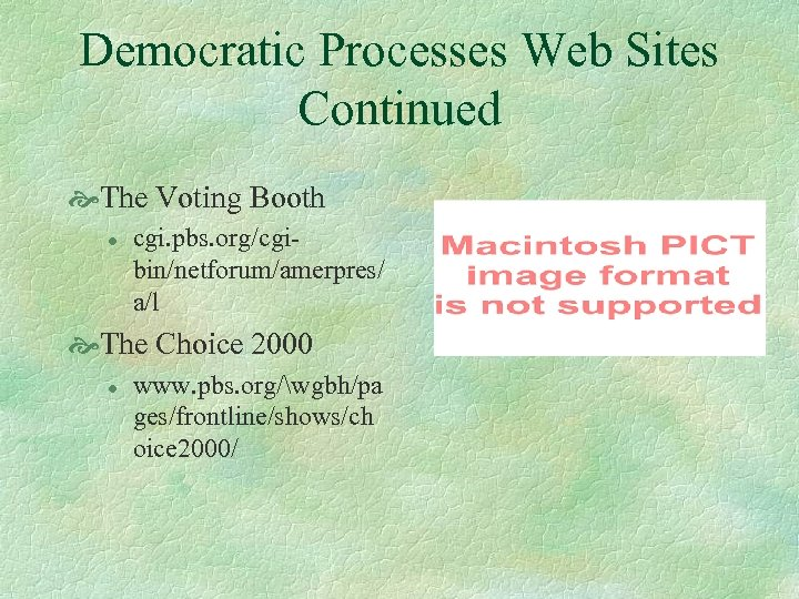 Democratic Processes Web Sites Continued The Voting Booth l cgi. pbs. org/cgibin/netforum/amerpres/ a/l The