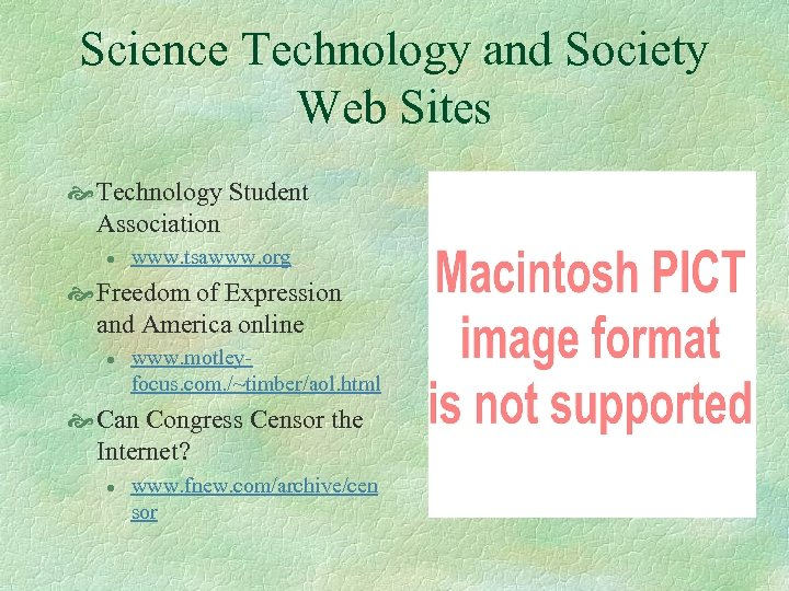 Science Technology and Society Web Sites Technology Student Association l www. tsawww. org Freedom