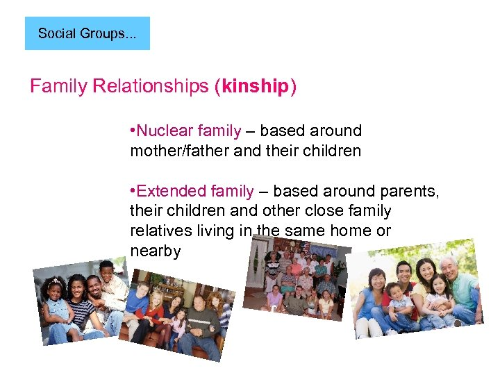 Social Groups. . . Family Relationships (kinship) • Nuclear family – based around mother/father