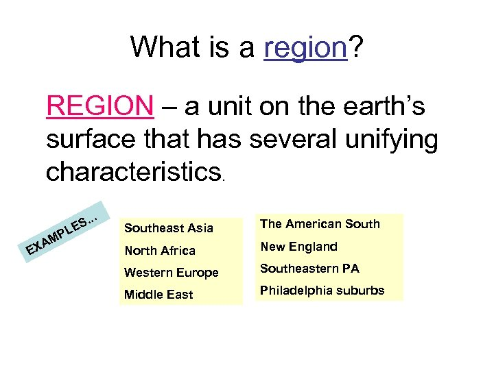 What is a region? REGION – a unit on the earth's surface that has