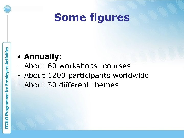 Some figures • - Annually: About 60 workshops- courses About 1200 participants worldwide About