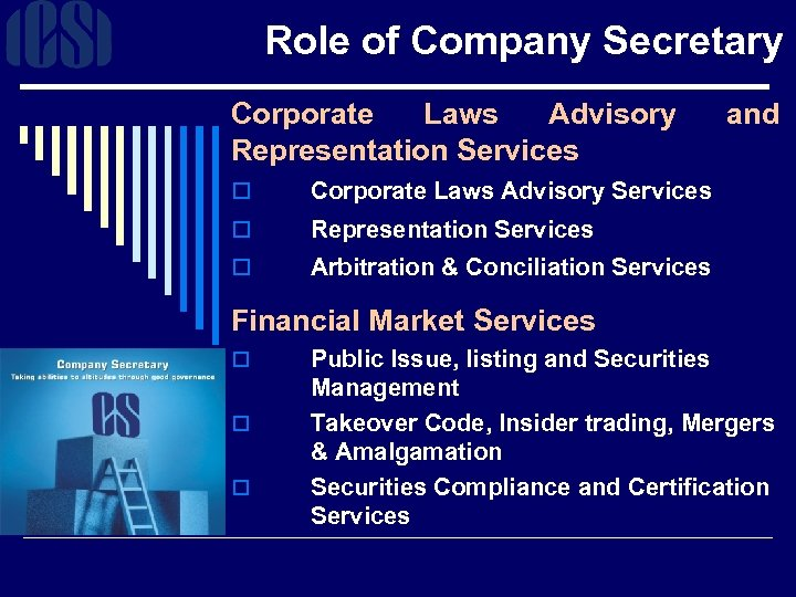 Role of Company Secretary Corporate Laws Advisory Representation Services o Corporate Laws Advisory Services