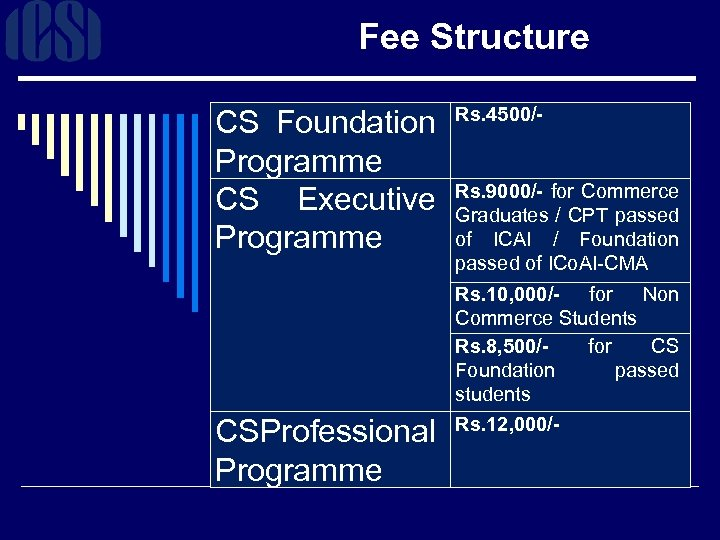 Fee Structure CS Foundation Rs. 4500/Programme CS Executive Rs. 9000/- for Commerce Graduates /