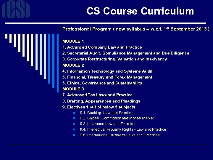 CS Course Curriculum Professional Program ( new syllabus – w. e. f. 1 st