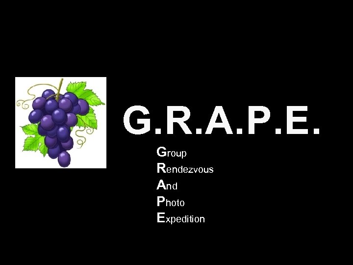 G. R. A. P. E. Group Rendezvous And Photo Expedition