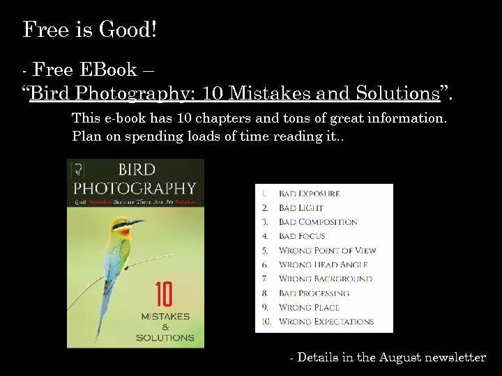 """Free is Good! - Free EBook – """"Bird Photography: 10 Mistakes and Solutions"""". This"""