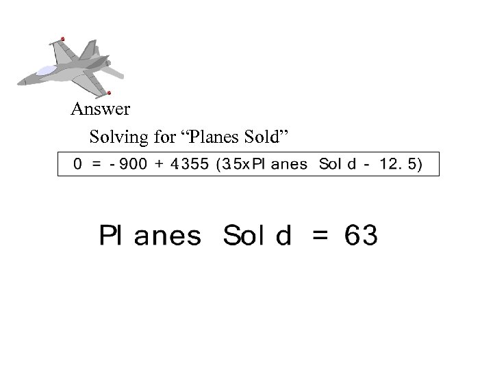 "Break Even Analysis Answer Solving for ""Planes Sold"""