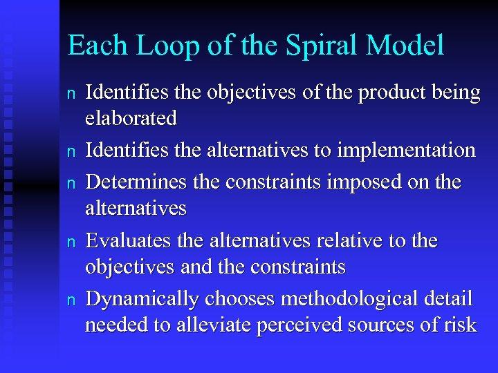 Each Loop of the Spiral Model n n n Identifies the objectives of the