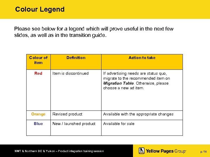 Colour Legend Please see below for a legend which will prove useful in the