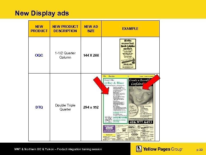 New Display ads NEW PRODUCT DESCRIPTION NEW AD SIZE OQC 1 -1/2 Quarter Column