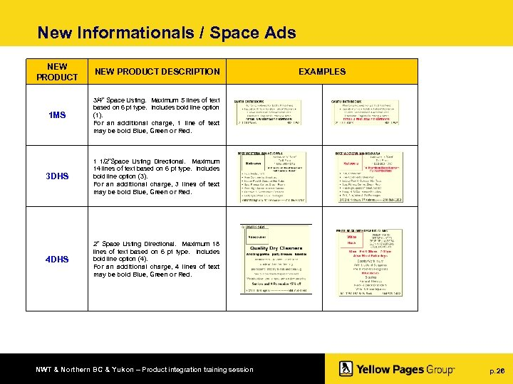 "New Informationals / Space Ads NEW PRODUCT DESCRIPTION 1 MS 3/4"" Space Listing. Maximum"