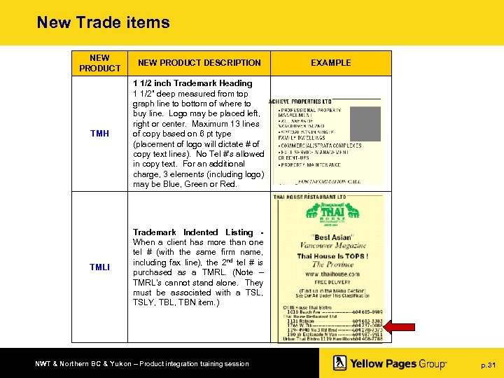 New Trade items NEW PRODUCT DESCRIPTION TMH 1 1/2 inch Trademark Heading 1 1/2""