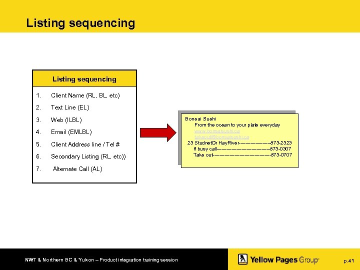 Listing sequencing 1. Client Name (RL, BL, etc) 2. Text Line (EL) 3. Web