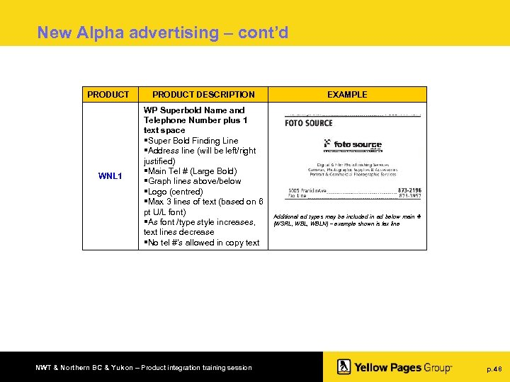 New Alpha advertising – cont'd PRODUCT DESCRIPTION WNL 1 WP Superbold Name and Telephone