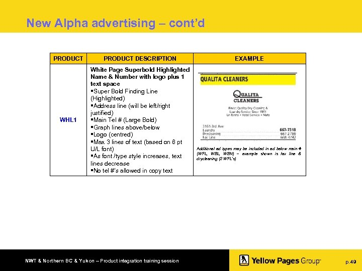 New Alpha advertising – cont'd PRODUCT DESCRIPTION WHL 1 White Page Superbold Highlighted Name