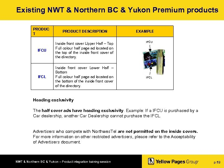 Existing NWT & Northern BC & Yukon Premium products PRODUC T PRODUCT DESCRIPTION IFCU