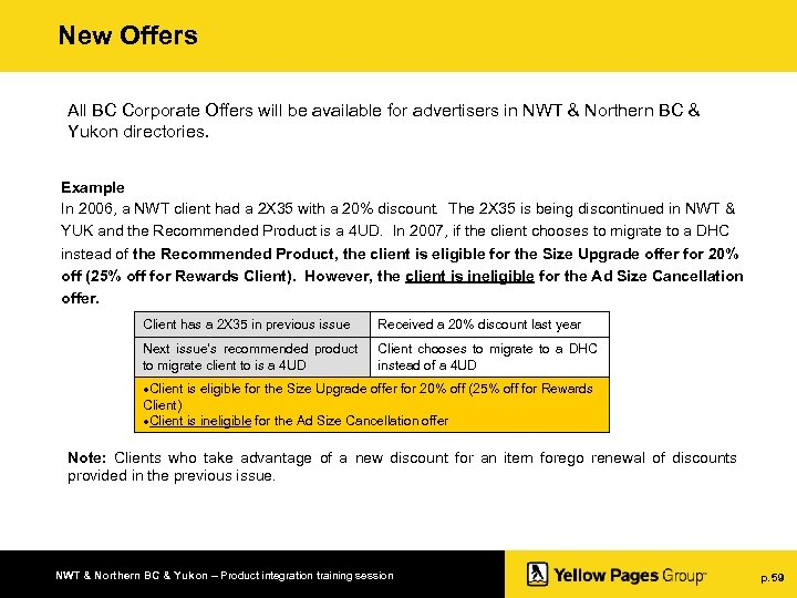 New Offers All BC Corporate Offers will be available for advertisers in NWT &
