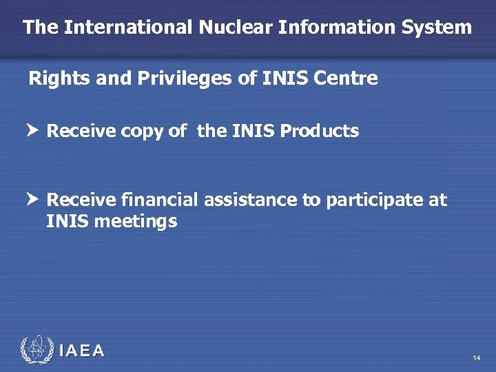 The International Nuclear Information System Rights and Privileges of INIS Centre Receive copy of