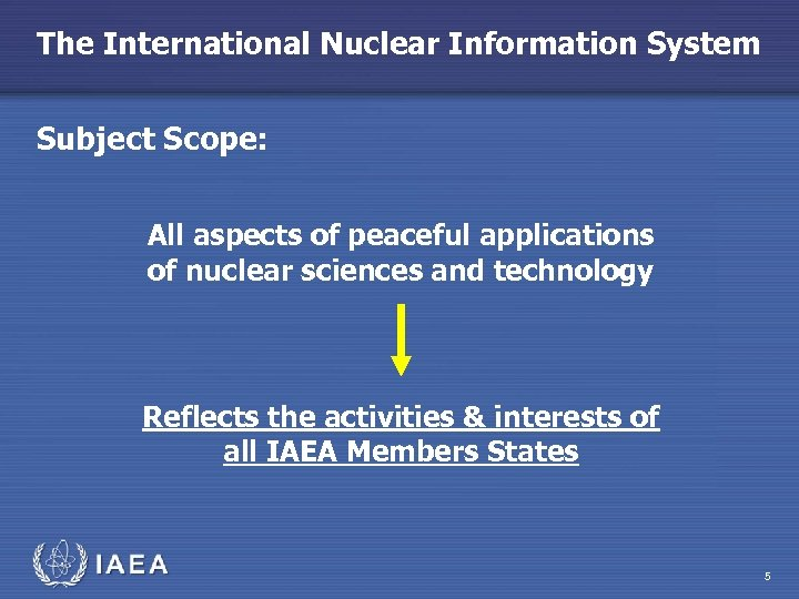 The International Nuclear Information System Subject Scope: All aspects of peaceful applications of nuclear