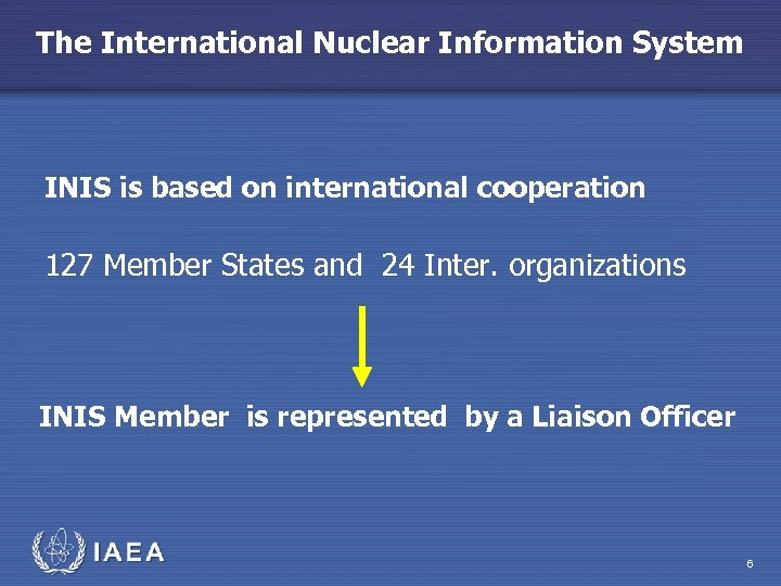The International Nuclear Information System INIS is based on international cooperation 127 Member States