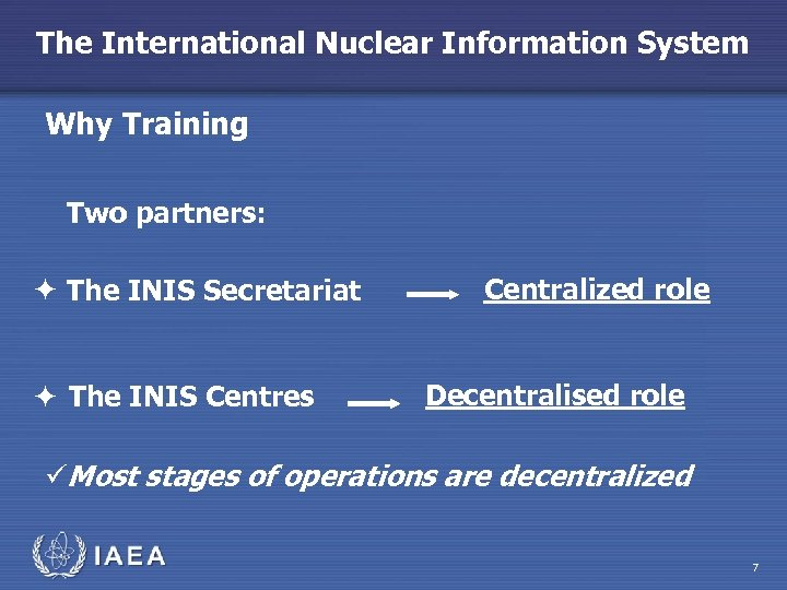 The International Nuclear Information System Why Training Two partners: The INIS Secretariat The INIS