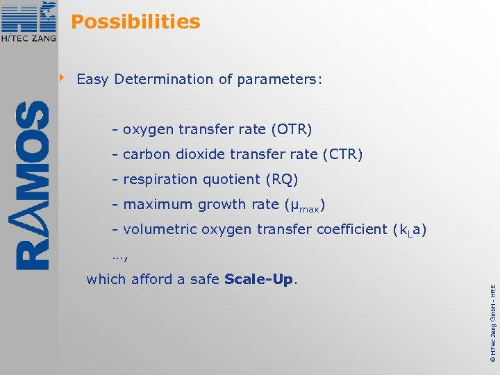Possibilities 4 Easy Determination of parameters: - oxygen transfer rate (OTR) - carbon dioxide