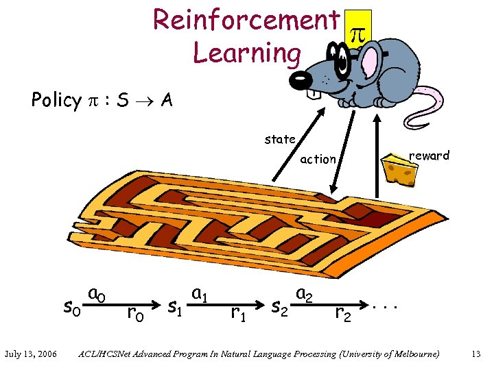 Reinforcement Learning Policy : S A state reward action s 0 July 13, 2006