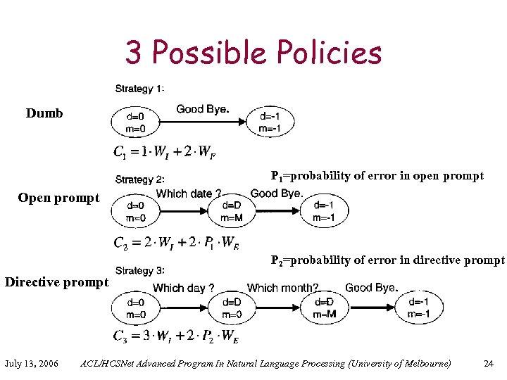 3 Possible Policies Dumb P 1=probability of error in open prompt Open prompt P