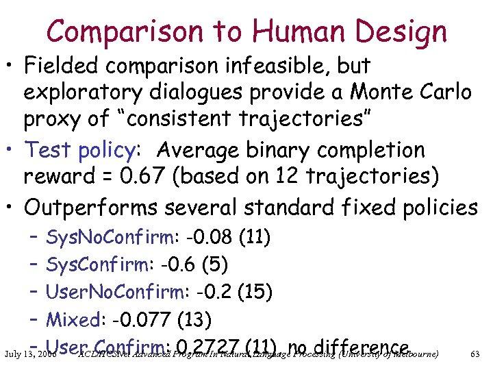 Comparison to Human Design • Fielded comparison infeasible, but exploratory dialogues provide a Monte
