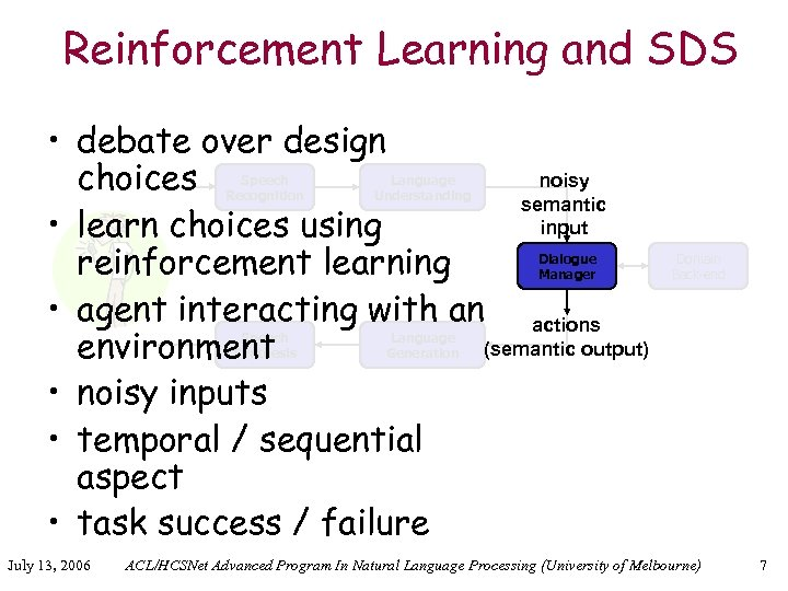 Reinforcement Learning and SDS • debate over design noisy choices semantic input • learn