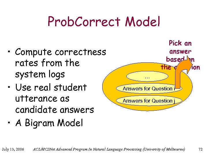 Prob. Correct Model • Compute correctness rates from the system logs • Use real