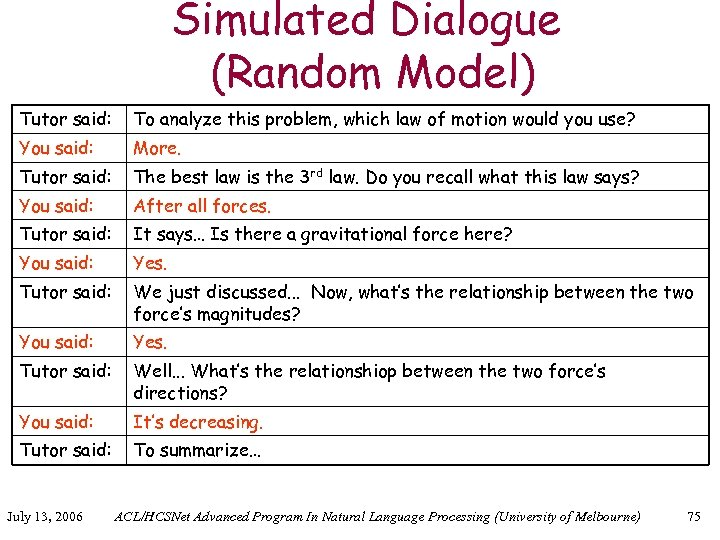 Simulated Dialogue (Random Model) Tutor said: To analyze this problem, which law of motion