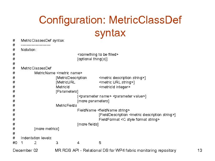 # # # # # #0 Configuration: Metric. Class. Def syntax Metric. Classes. Def