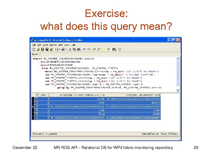 Exercise: what does this query mean? December 02 MR RDB API - Relational DB