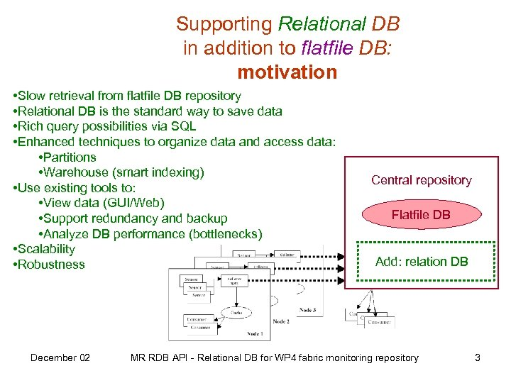 Supporting Relational DB in addition to flatfile DB: motivation • Slow retrieval from flatfile