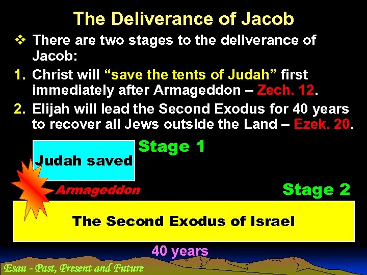 The Deliverance of Jacob v There are two stages to the deliverance of Jacob:
