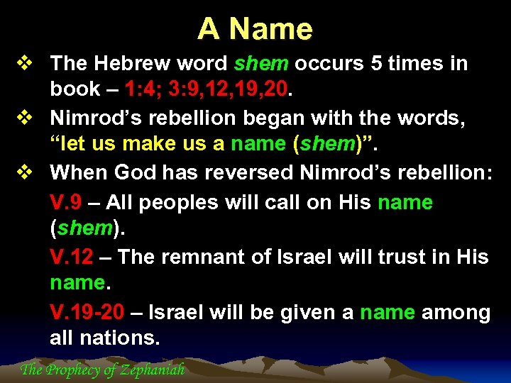 A Name v The Hebrew word shem occurs 5 times in book – 1: