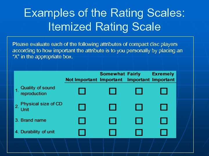 Examples of the Rating Scales: Itemized Rating Scale Please evaluate each of the following