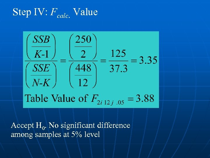 Step IV: Fcalc. Value Accept H 0. No significant difference among samples at 5%
