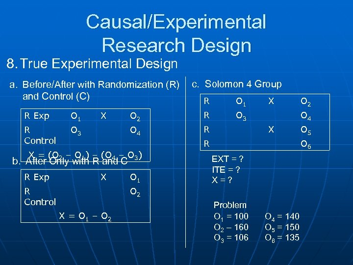 Causal/Experimental Research Design 8. True Experimental Design a. Before/After with Randomization (R) and Control