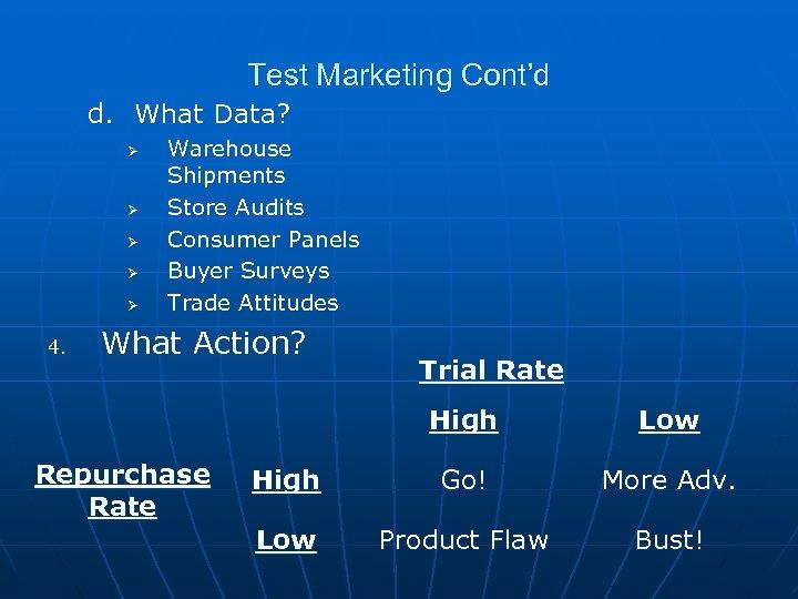 Test Marketing Cont'd d. What Data? Ø Ø Ø 4. Warehouse Shipments Store Audits