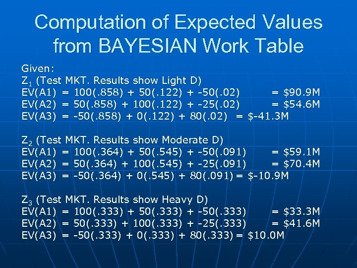 Computation of Expected Values from BAYESIAN Work Table Given: Z 1 (Test MKT. Results