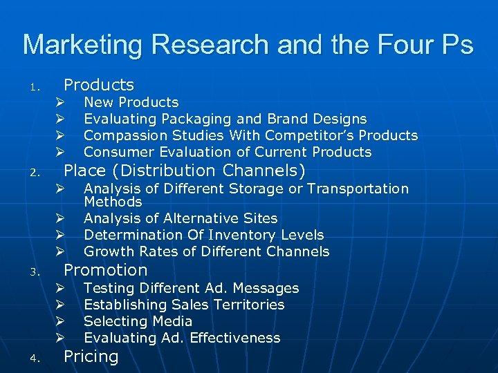Marketing Research and the Four Ps 1. Products Ø Ø Ø Ø 3. 4.
