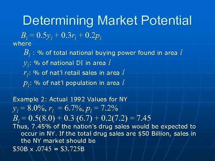 Determining Market Potential Bi = 0. 5 yi + 0. 3 ri + 0.