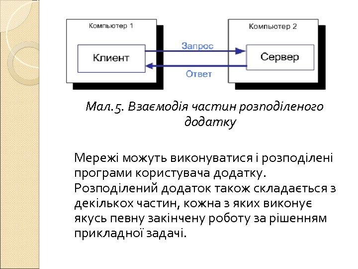 Мал. 5. Взаємодія частин розподіленого додатку Мережі можуть виконуватися і розподілені програми користувача додатку.