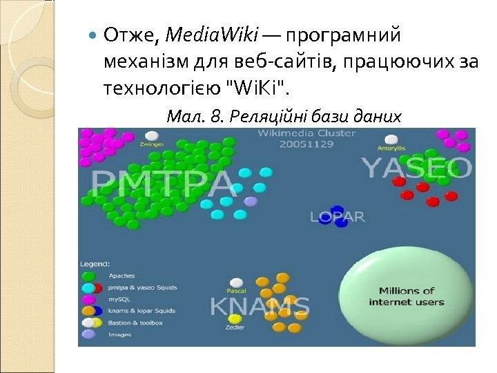 Отже, Media. Wiki — програмний механізм для веб-сайтів, працюючих за технологією