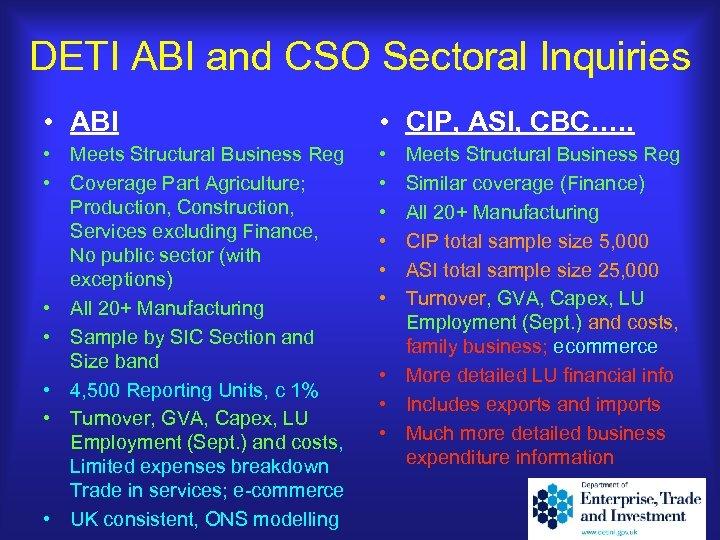 DETI ABI and CSO Sectoral Inquiries • ABI • CIP, ASI, CBC…. . •