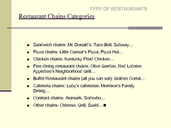 TYPE OF RESTAURANTS Restaurant Chains Categories Sandwich chains: Mc Donald's, Taco Bell, Subway… Pizza