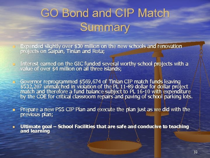GO Bond and CIP Match Summary n Expended slightly over $30 million on the