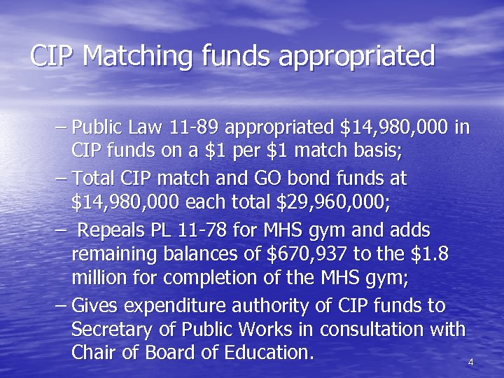 CIP Matching funds appropriated – Public Law 11 -89 appropriated $14, 980, 000 in